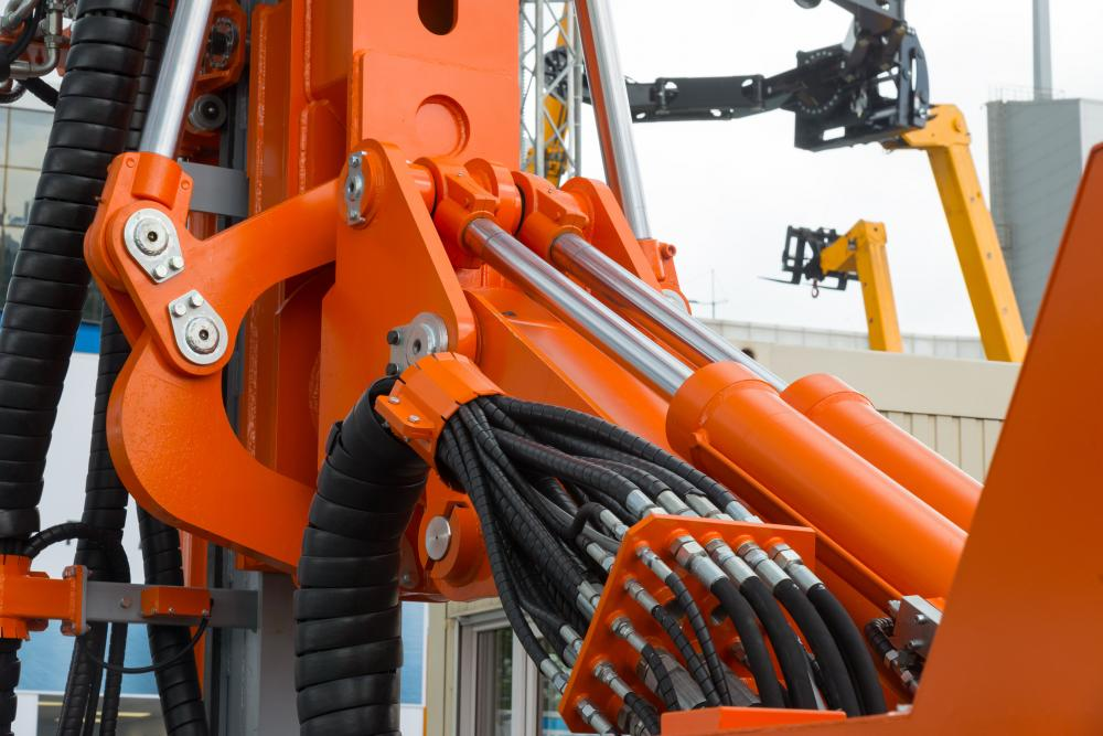 A picture of hydraulics on an excavator.